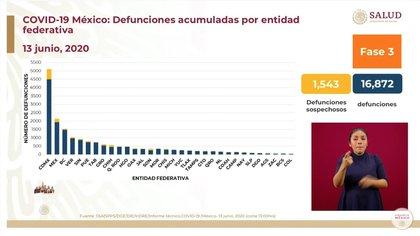 Defunciones acumuladas por entidad federativa hasta este sábado 13 de junio de 2020 (Foto: SSa)