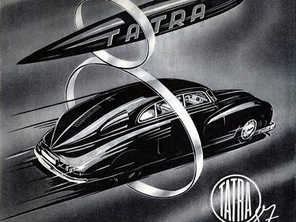 Un folleto de la época que mostraba al T87 como un auto veloz.