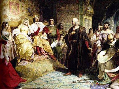 Cristóbal Colón comparece ante los Reyes Católicos