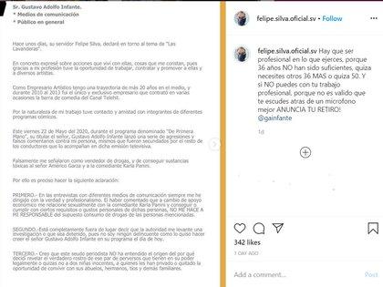El documento de Silva dirigido a Gustavo Adolfo Infante