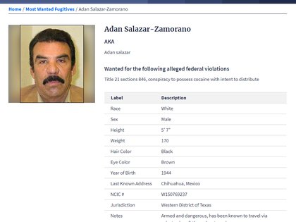 Adán Salazar, uno de los cabecillas de Los Salar, es buscado por la DEA por distribuir coca en los Estados Unidos (Foto: DEA)