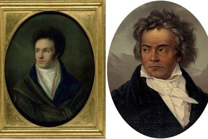 """Isidor Neugass y su """"El joven Beethoven"""" y la obra realizada por el cantante de ópera Ferdinand Shimon (ambos en casa museo de Bonn)"""