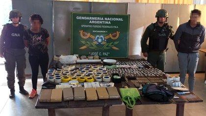 """19 días antes que el intendente Mario Ishii hablase de """"La Falopa"""" en las ambulancias de su municipio, Gendarmeria desarticulaba una banda narco en el distrito. (Prensa Gendarmería Nacional)"""