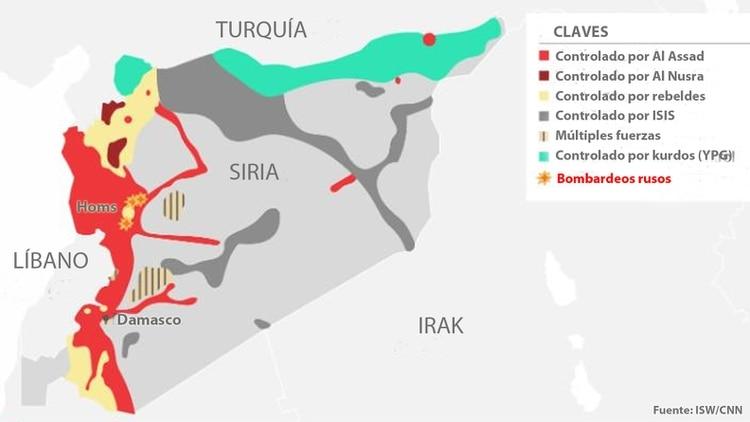 Guerra De Siria Mapa.El Mapa Del Conflicto En Siria Infobae
