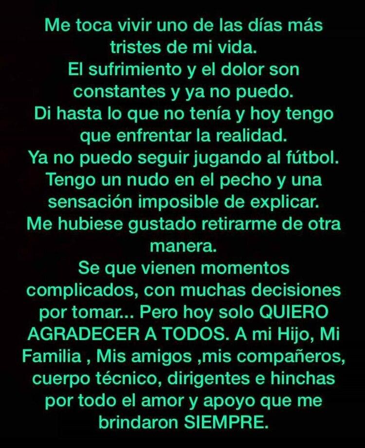 El mensaje de Rodrigo Mora en las redes sociales