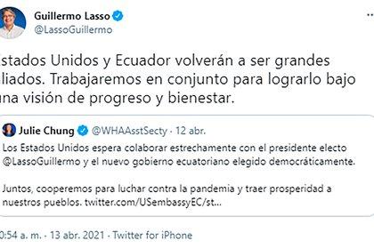 El mensaje de Guillermo Lasso sobre Estados Unidos