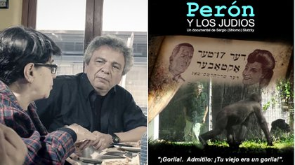 El director Sergio Shlomo Slutzky en un bar de Buenos Aires y el afiche de su documental