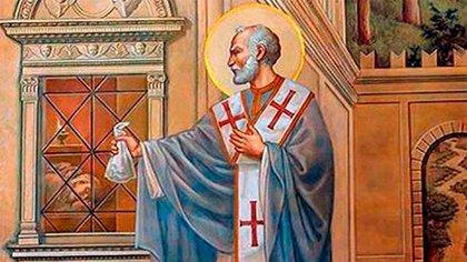San Nicolás como obispo de Myra, llevando la dote para las novias