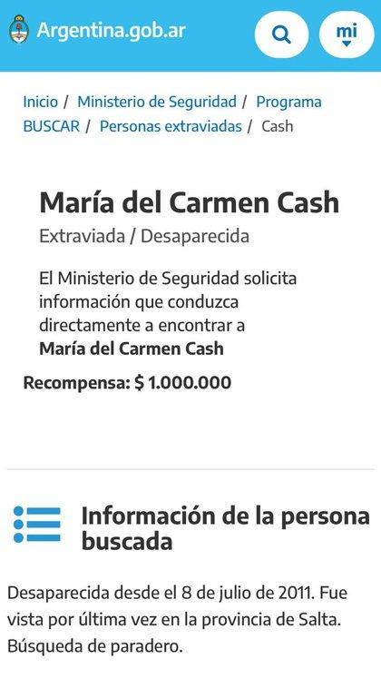 El Ministerio de Seguridad de la Nación ofrece $1 millón de recompensa a quien aporte datos sobre su paradero