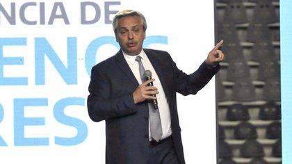 Alberto Fernández cerró el acto de ayer en el Estadio Único de La Plata