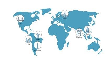 Los siete mercados principales de Grabr: Argentina, Brasil, Perú,EEUU, Rusia, Tailandia y Vietnam.