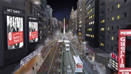 Así funcionaría la avenida Corrientes durante la noche