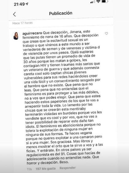 La publicación de Carolina Aguirre contra Jimena Barón en las redes sociales
