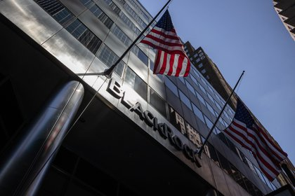 American flags fly outside BlackRock headquarters in New York.
