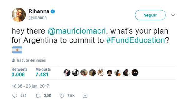 El pedido de Rihanna a Mauricio Macri