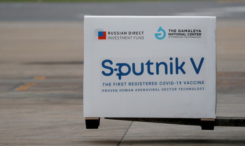 FILE PHOTO: A shipment of doses of the Sputnik V (Gam-COVID-Vac) vaccine against the coronavirus disease (COVID-19) is seen after arriving at Ezeiza International Airport, in Buenos Aires, Argentina January 28, 2021. REUTERS/Agustin Marcarian/File Photo