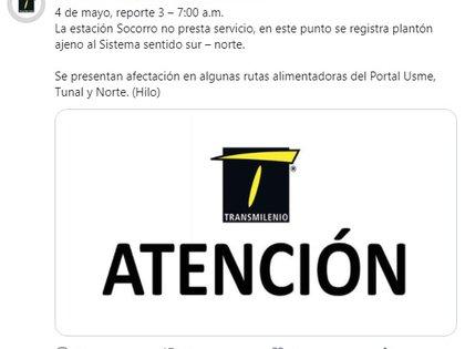 Cierres en TransMilenio