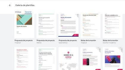 Galería de plantillas disponibles en Google Docs
