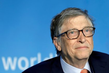 Bill Gates, en un panel de discusión durante una reunión del FMI en  Washington, EEUU, 21 de abril de 2018 (REUTERS/Yuri Gripas)