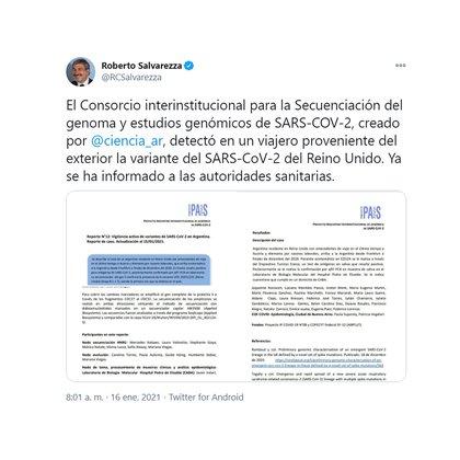 Tuit del Ministro de Ciencia y Tecnología, Roberto Salavarezza