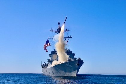 Lanzamiento de misiles durante los ejercicios militares de la flota estadounidense en el Mar de China Meridional.