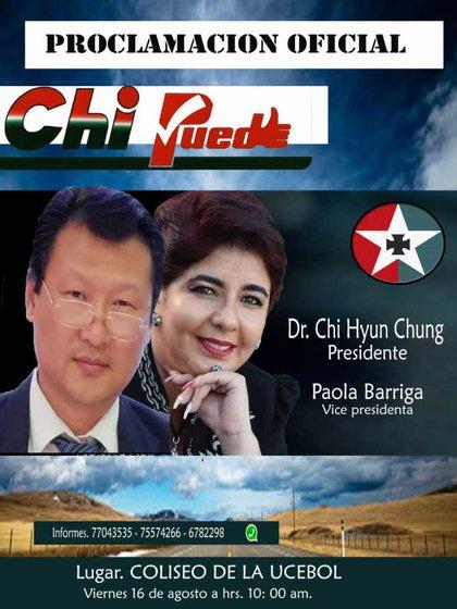 """Uno de los afiches de campaña con el slogan """"Chi puede"""""""