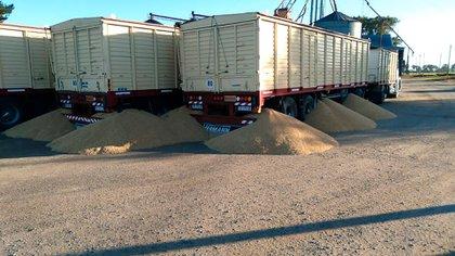 Uno de los hechos delictivos en Tandil, fue la apertura de las boquillas de los camiones para que se derrame la carga (Foto: Sociedad Rural de Tandil)