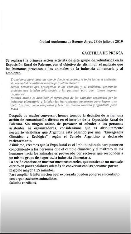 El comunicado publicado por DXE Buenos Aires, horas antes de la protesta en La Rural