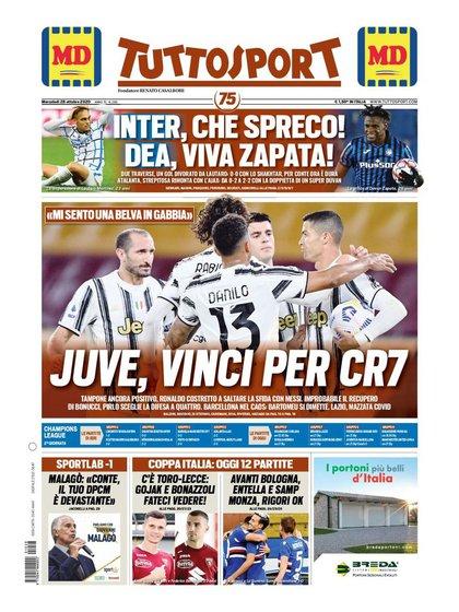 La portada de Tuttosport, con la frase de Cristiano Ronaldo