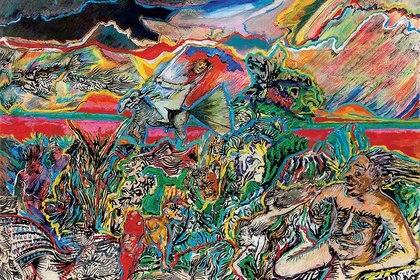 """Luis Felipe Noé, """"La naturaleza y los mitos II"""" (acrílico, tinta y collage sobre papel y cartón, 1975)"""