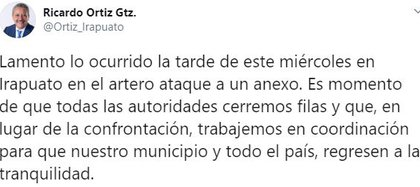 El alcalde de Guanajuato, Ricardo Ortiz,lamentó lo ocurrido (Foto: Twitter/Ortiz_Irapuato)
