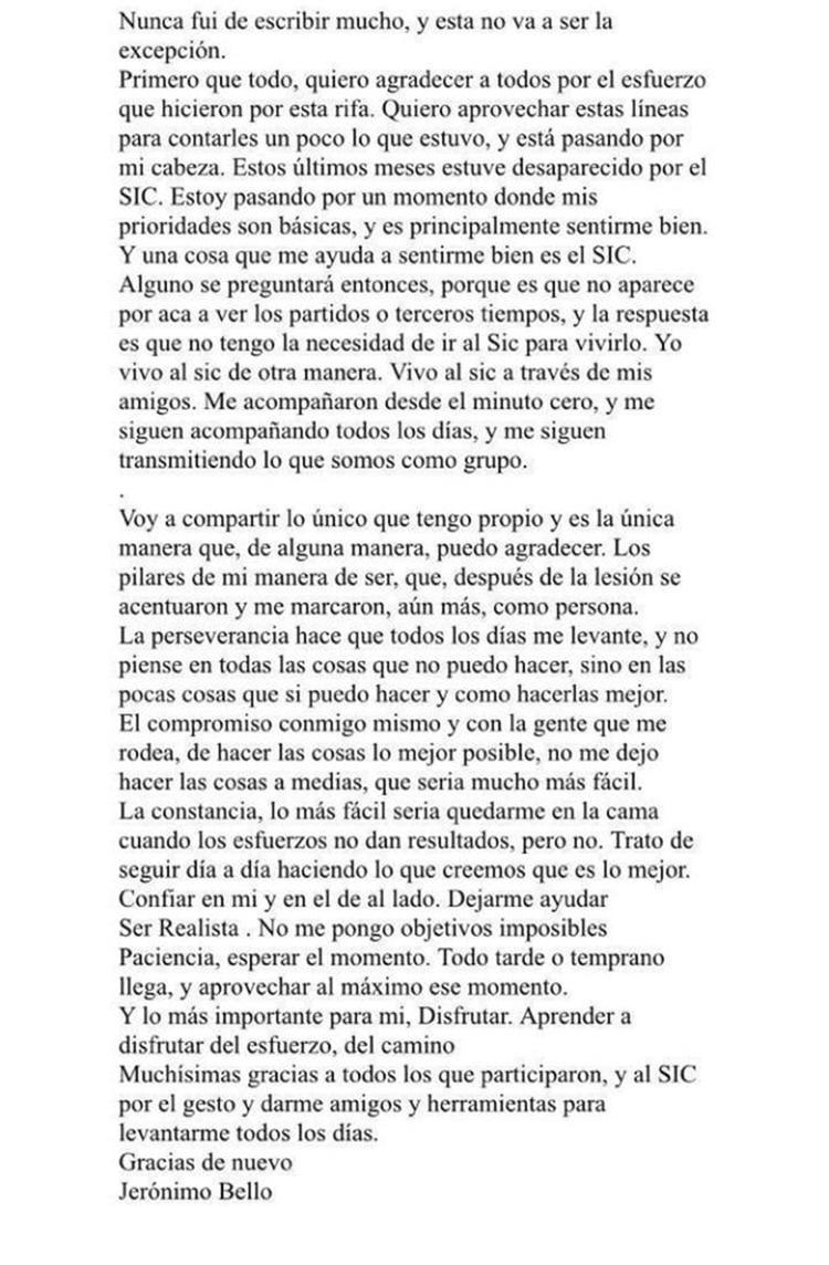 La carta escrita por Jero el 6 de noviembre de 2018