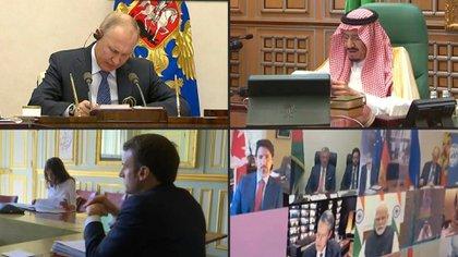 """Los líderes de las 20 economías más importantes del planeta prometieron inyectar más de 5 billones de dólares en la economía y hacer """"frente unido"""" para limitar los efectos del nuevo coronavirus y el riesgo de recesión, en un cumbre virtual presidida por Riad."""