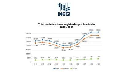Homicidios en 2019 conforman el 4.9% de defunciones según el INEGI (Captura de pantalla)