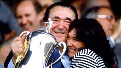 Mandatory Credit: Photo by News UK Ltd/Shutterstock (202544a)Robert Maxwell and Ghislaine MaxwellMilk Cup, Britain - 1992