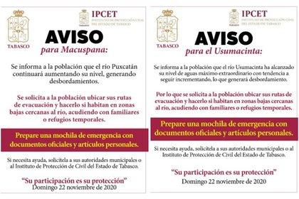 Avisos emitidos por el Instituto de Protección Civil del Estado de Tabasco (Foto: Twitter @ProcivilTabasco)