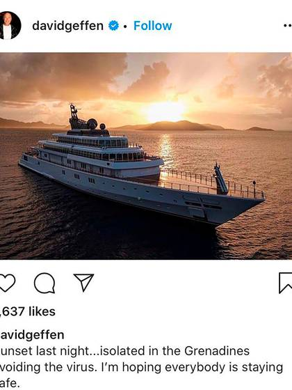"""""""La puesta del sol anoche... aislado en la Granadinas para evitar el virus.... espero que todo el mundo esté a salvo"""", escribió David Geffen en su posteo en Instagram, y desató reacciones furiosas"""