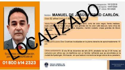 Manuel Jesús Fierro fue localizado en una fosa clandestina (Foto: Twitter/FiscaliaMich)