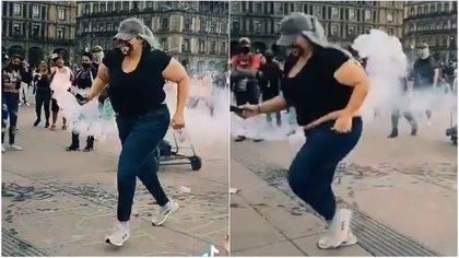 La joven se hizo viral tras devolver un artefacto de gas a Palacio Nacional durante la marcha de 8M (Foto: Twitter)