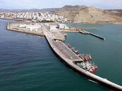 Una vista aérea del puerto de Comodoro Rivadavia