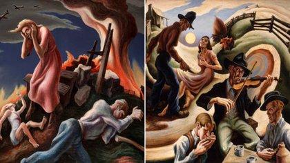 Pollock no siguió los temas de Thomas Hart Benton, pero sí vio en sus curvas una fuente de inspiración