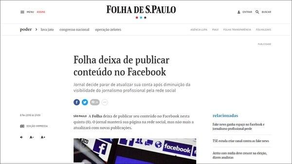 El anuncio de Folha de São Paulo publicado el jueves 8 de febrero de 2018