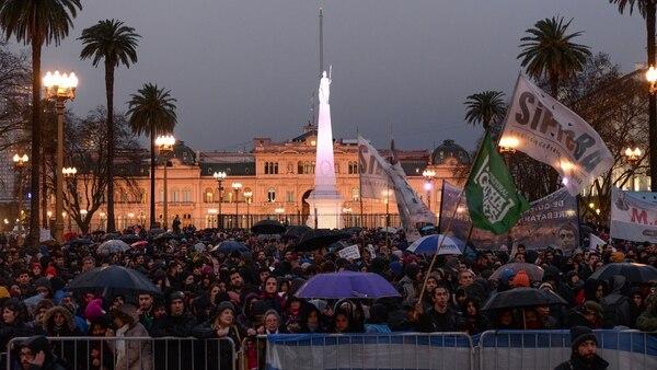 Los docentes en la Plaza de Mayo