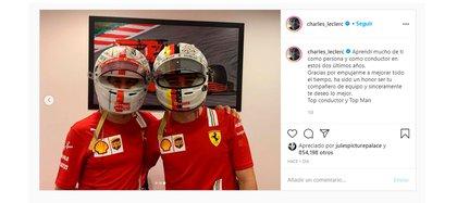 La despedida de Charles Leclerc para Vettel (@charles_leclerc)