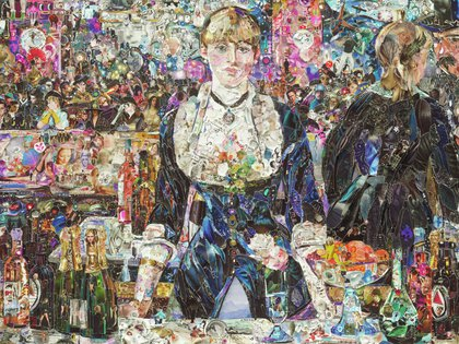 """A Bar at the Folies Bergère, after Edouard Manet"", realizada en 2012, parte de la serie ""Obras de Revistas 2"". (vikmuniz.net)"