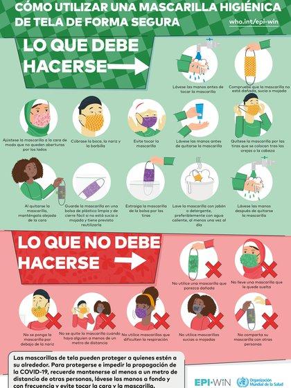 Estas son algunas de las recomendaciones sobre el uso de mascarillas de la OMS. (Foto: OMS)