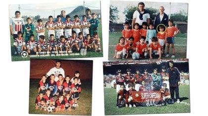 Lionel Messi en algunos equipos de Newell's que integró en inferiores y en Grandoli, su primer club (camiseta naranja), donde fue dirigido por Salvador Aparicio, su descubridor (el señor de campera azul que aparece en la segunda foto de arriba, de izquierda a derecha)
