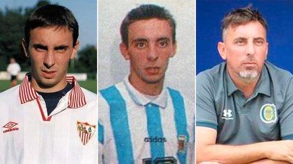 Colusso con indumentaria del Sevilla, la casaca de la Selección y como DT en las Inferiores de Rosario Central. También jugó en otros once clubes alrededor del mundo