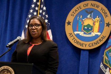 En la imagen, un registro de la fiscal general de Nueva York, Letitia James. La funcionaria, una demócrata que ha sido aliada de Cuomo pero que fue elegida de manera independiente, encabezará la investigación (EFE/ Jusin Lane/ archivo)