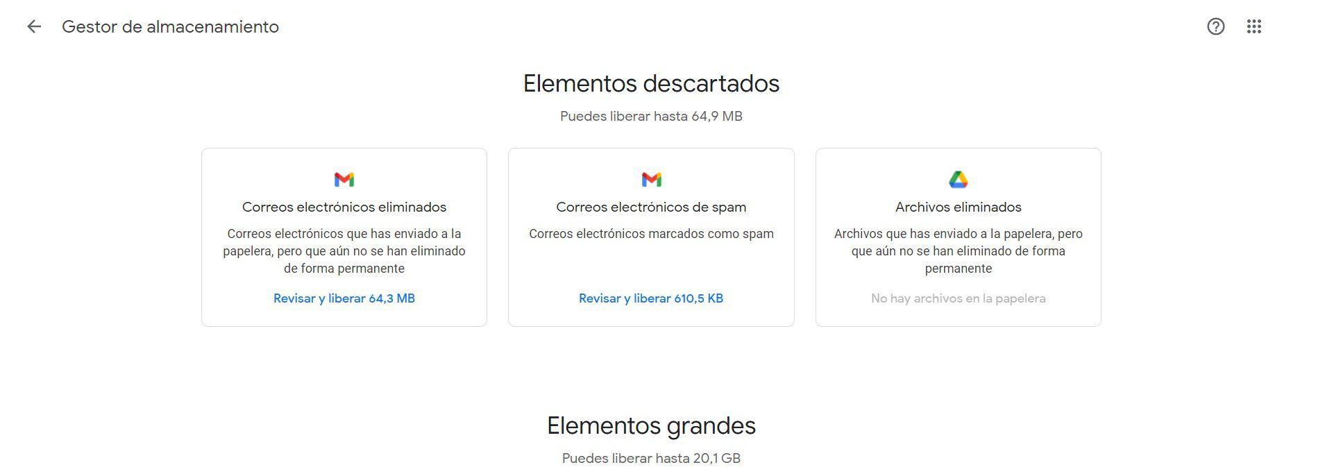 Administrador de Almacenamiento en Google One
